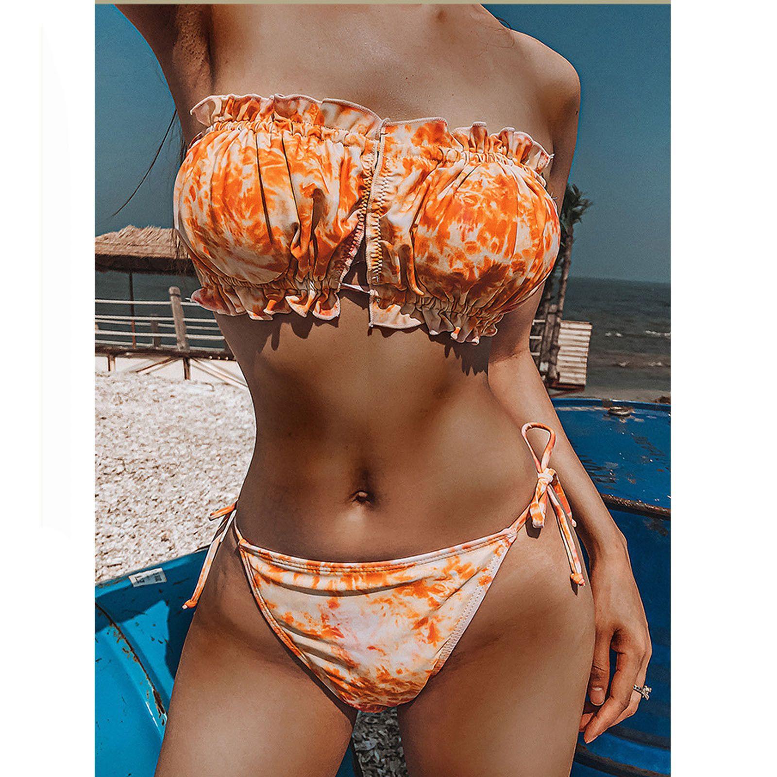 Bandeau Swimsuit Mulheres Bikini Set New Top Sexy Lady Bandage Bikini Set Push-up Brasileiro Swimwear Beachwear Swimsuit Feminino Q1230