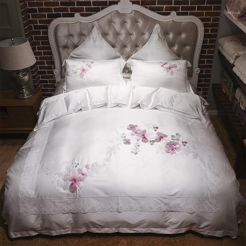 Китайский Tencel Вышитые постельные принадлежности King Queen Size Кровать Мягкий Летний Доверный Крышка Крышка Лист Поволочки1