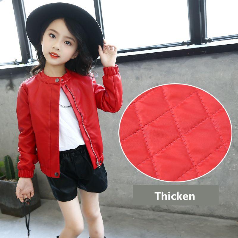 PU سقوط أبلى الأزياء الكورية نمط جديد معطف سترة مع زيبر سميكة أطفال جاكيتات جلدية بسيطة الأعلى