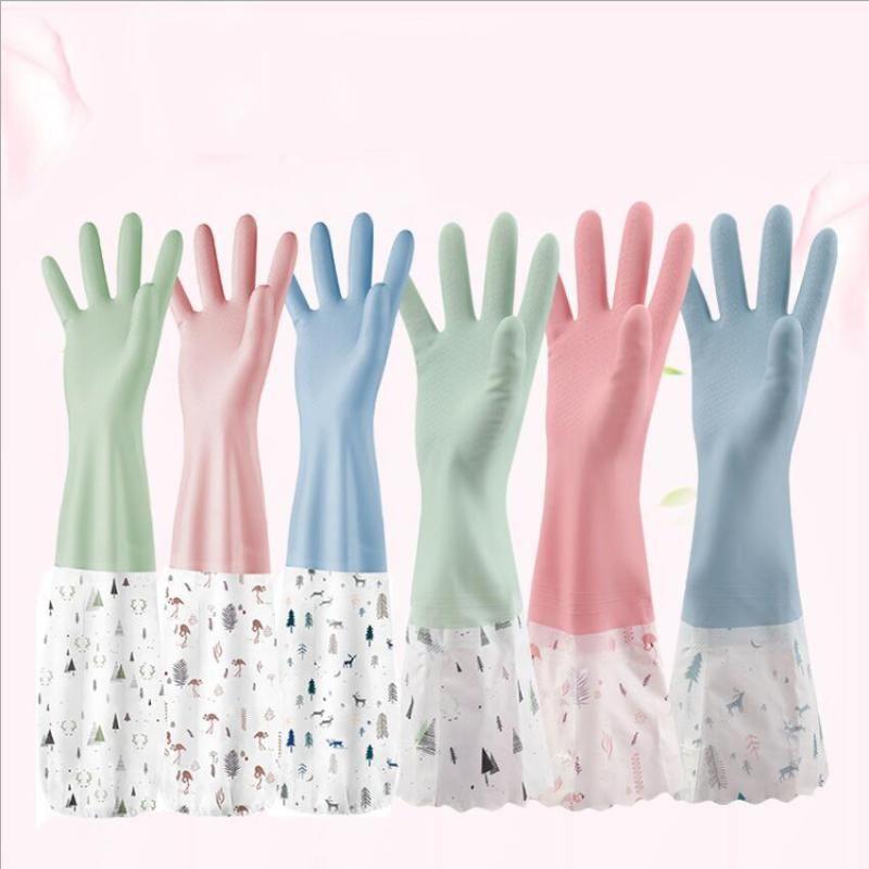 Hanayuki Floral lave-vaisselle Nettoyage de ménage Gants de cuisine Cuisine Lave-vaisselle Étanche À manches longues 2021 Bandes en caoutchouc Gants