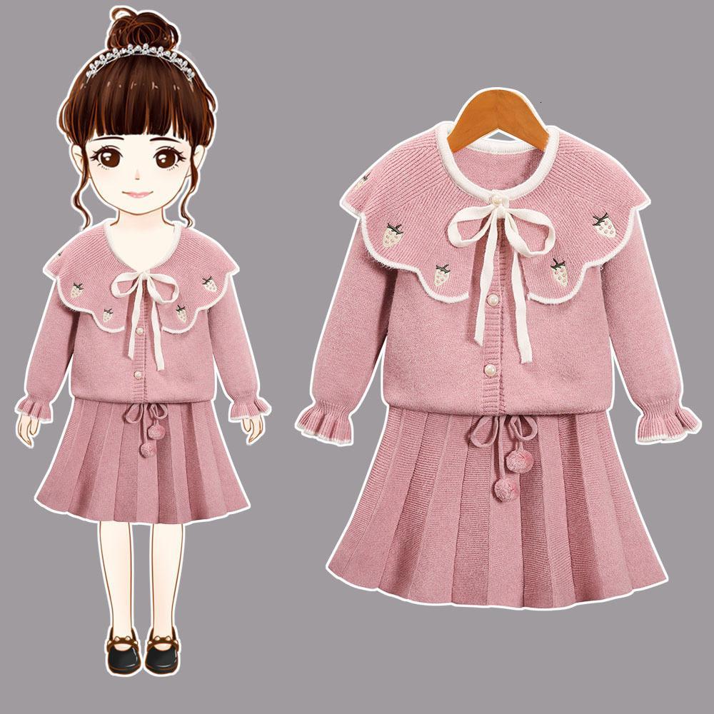 2021 nouvelles filles hiver enfants manteau de vêtements + jupe plissée 2pcs / set jeux de pull enfants 2-6Y 3F5F