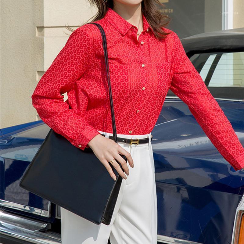 New Womens Blusa Oficina Oficina Francesa Retro Flowers Impreso Female Femenino Camisa roja y ropa superior con botones1