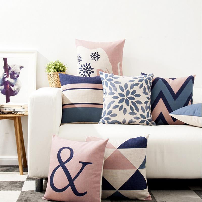 Simple moderno rosa geométrico estilo nórdico beso beso pendiente woonkamer sofá besos interior
