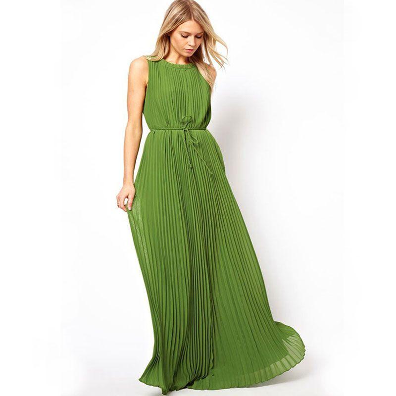 abito senza maniche 2020 estate in Europa ed il commercio estero degli Stati Uniti stella delle donne di colore verde scuro e abito a pieghe (con)