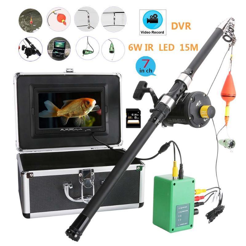 """15M original 1000TVL buscador de los pescados bajo el agua del hielo Pesca cámara 7"""" LCD de la cámara del monitor LED de visión nocturna por infrarrojos para la pesca"""