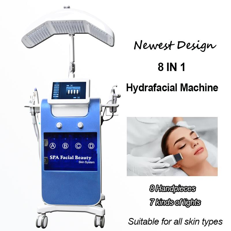 8 in 1 Hydra Yüz Makinesi Hidro Mikrodermabrazyon Ultrasonik Cilt Scrubber Oksijen Yüz Sprey Hydafacial Makinesi