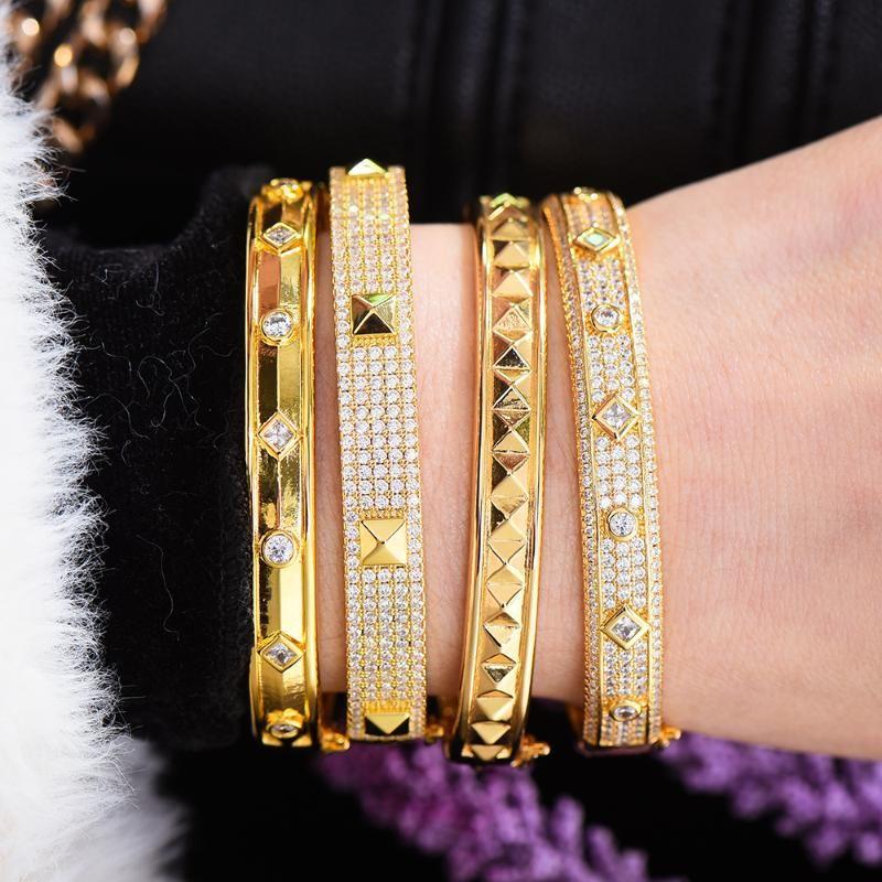 Godki Büyük Moda Lüks Kalın Bileklik Manşet Kadınlar için Düğün Çok Kübik Zirkonya Kristal CZ Dubai Altın Renk Bilezik 2020