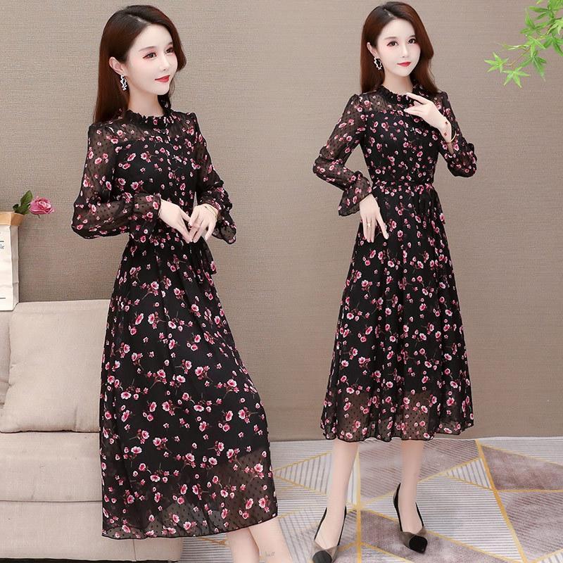 93OYt Uzun kollu şifon 2020 Sonbahar yeni orta yaşlı giyim kadın uzun mizaç bel Elbise skirtlong etek moda skirtslimming mil