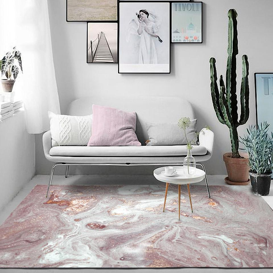 Modern Nordic Abstract Pink Gold Carpet For Kitchen Home Bedroom Sofa Bedside Rectangle Area Rugs Home Decorative Mat Alfombra