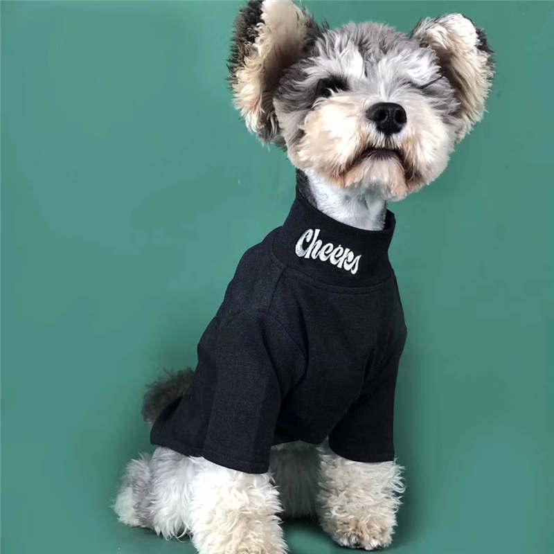 패션 브랜드 높은 목 애완 동물 T 셔츠 겨울 개 고양이를 바닥 셔츠 슈나우저 테디 퍼그 강아지 셔츠 옷을 따뜻하게