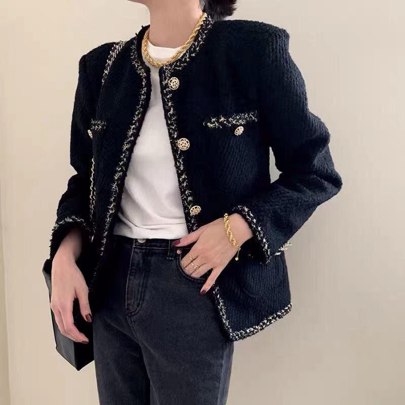 2020 Winter Neue Stil Elegantes und modisches Allspiel Slim Anzug Kurzjacke Frauen Lose Tweed Woven Jacke Frauen