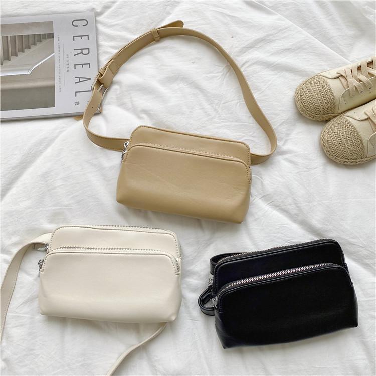 HBP Korean version of the female solid color double zipper small bag fashion wild shoulder absorber bag tide