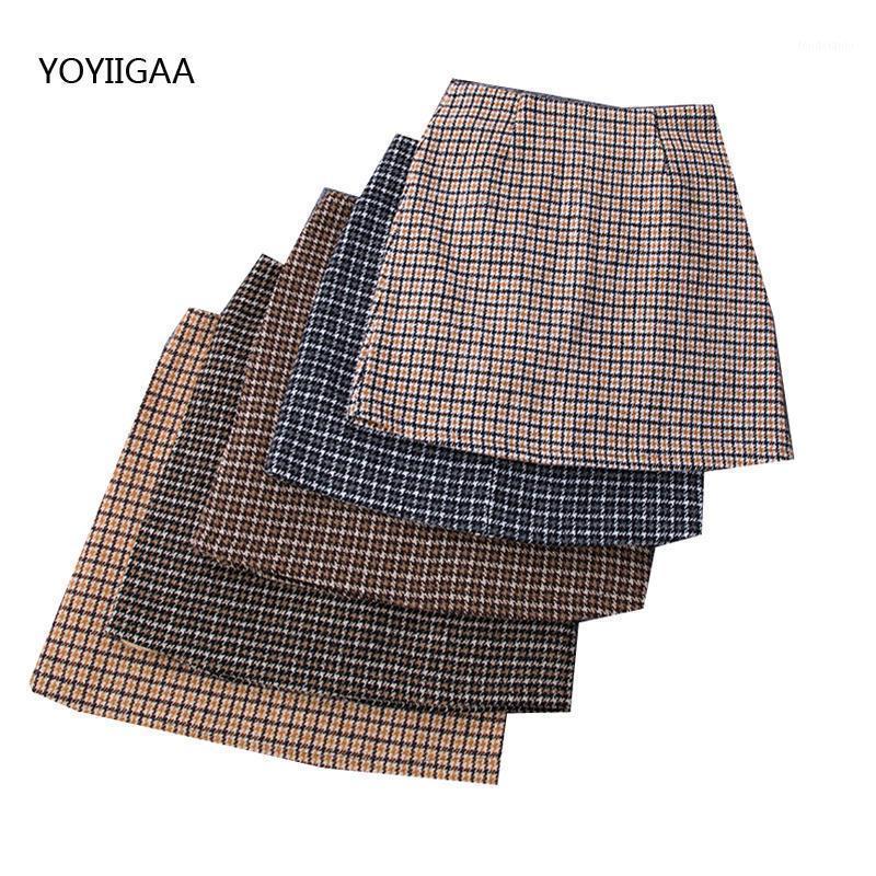 Señoritas de verano falda corta casual plaid mini a-line mujeres faldas cremallera alta cintura mujeres mini falda vintage moda mujer faldas1