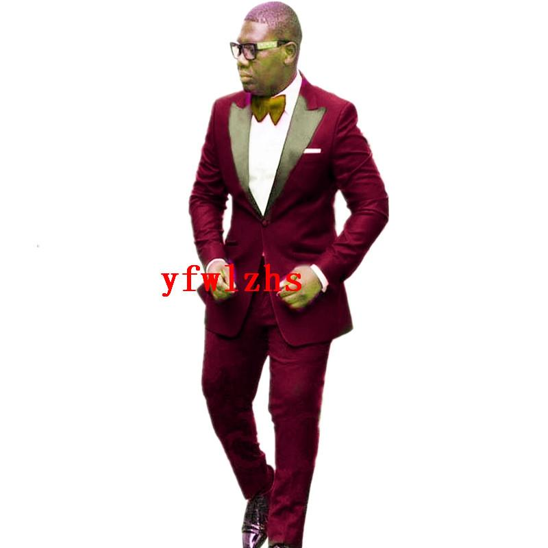 Красивая одна кнопка Groomsmen Пик отворота свадьба Groom смокинги мужские костюмы свадебные / выпускные / ужин Лучший мужчина Blazer (куртка + галстук + брюки) T254