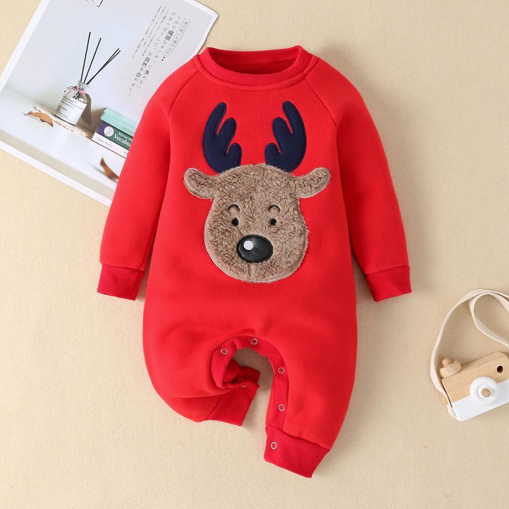 Strampler Herbst Winter Weihnachtsmädchen Neugeborenen Jumpsuit Für Jungen Unisex Baby Kleidung Overalls 0 3 18 Monat LJ201023