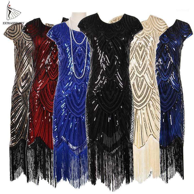 Casual Dresses Womens 1920er Jahre Vintage Flapper Great Gatsby Party Kleid V-Ausschnitt Sleeve Pailletten Fransen Midi Sommer Art Deco Verziert1