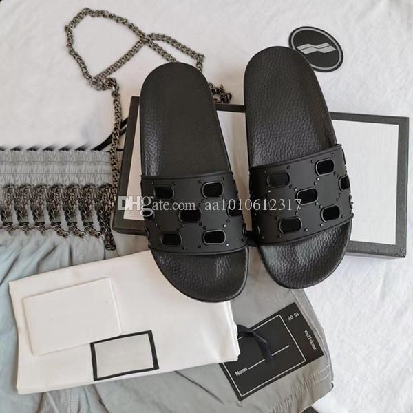 Üst 2021 Erkekler Kadınlar Slayt Sandalet Ayakkabı Lüks Slayt Yaz Moda Geniş Düz Sliply Kalın Sandalet ile Terlik Flip Flop 35-45