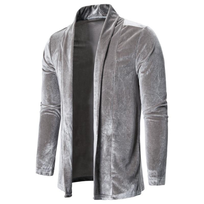 ذكر خمر الأزياء فضفاض جاكيتات معطف الشارع الشهير الهيب هوب ملابس داخلية الرجال المخملية عارضة سترة طويلة الأكمام
