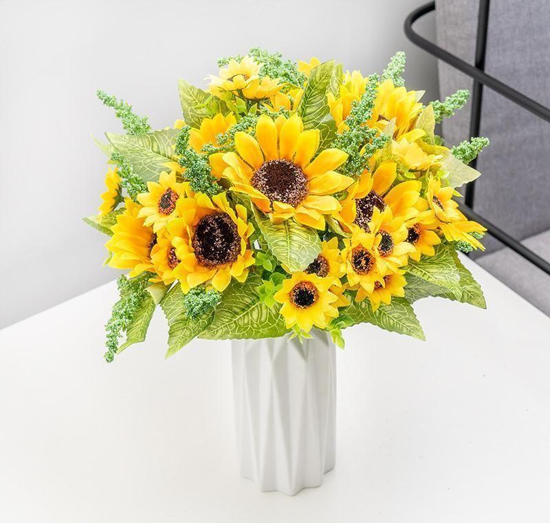 Домашнее украшение Свадьба Искусственный цветок сада Поддельный Искусственное Для декора Sunflower Hotel Party Silk Crafts Подсолнечное Декор Цветы bbyKx