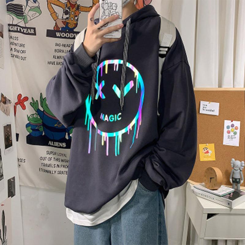 VIPmen outono e de inverno do velo de Moda de Nova hoodies reflexivo para Hoodie solto roupas tamanho grande estilo Casual Hip hop pulôver MVP