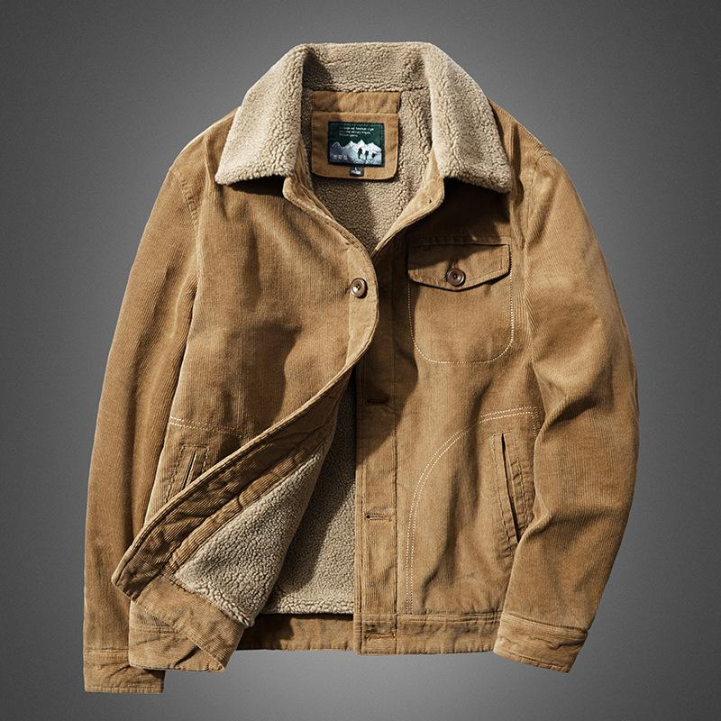 Mode d'hiver en laine de velours en coton rembourré couleur unie col rembourré casual veste grande taille coton chaud pour les hommes
