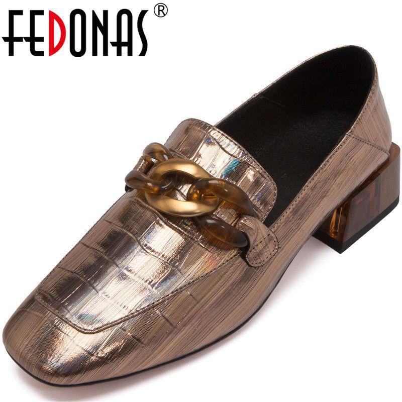Fedonas Donne Leather Leather Scarpe Casual Scarpe Casual Basic Spring Summer Thick Tacchi Pompe Decorazione Metallo Slip on Square Toe Shoes Woman LJ201112