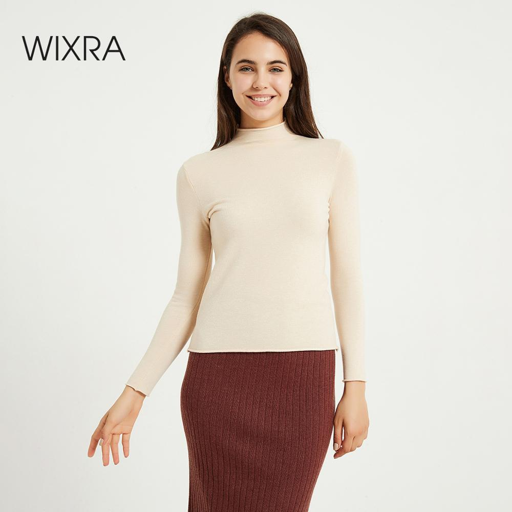 Wixra Women Soft Solid Knitting Sweaters Ladies Long Sleeve Half Turtleneck Basic Sweater Pullovers Autumn Spring Tops 201030