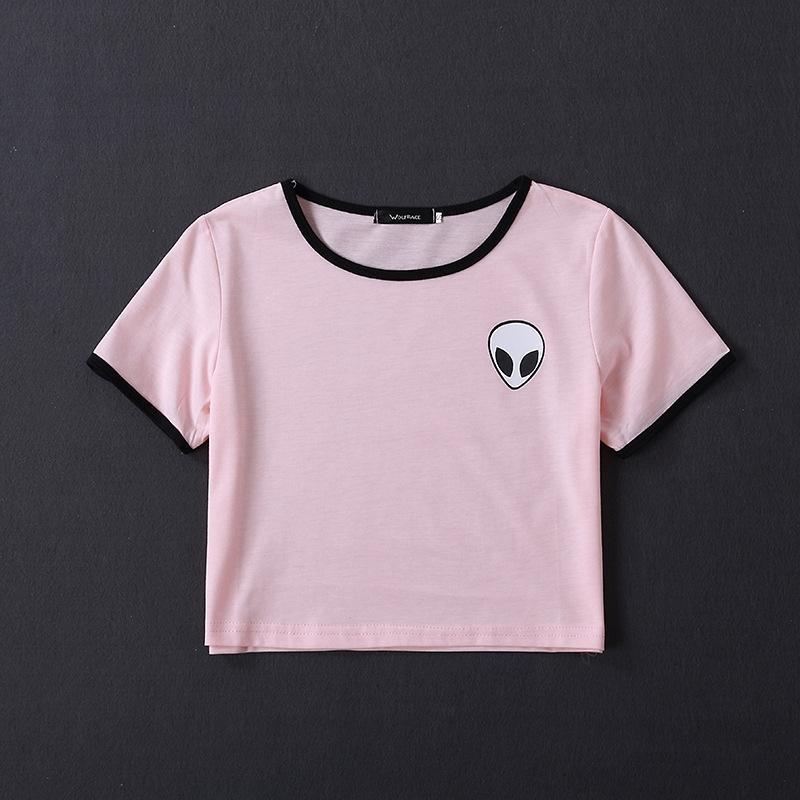 2019 Art und Weise SML alien Druck gestreifter kurzen Ärmel für Frauen 2019 Art und Weise SML alien Druck kurzen T-Shirt Hülse T-Shirt für Frauen IbzA gestreift