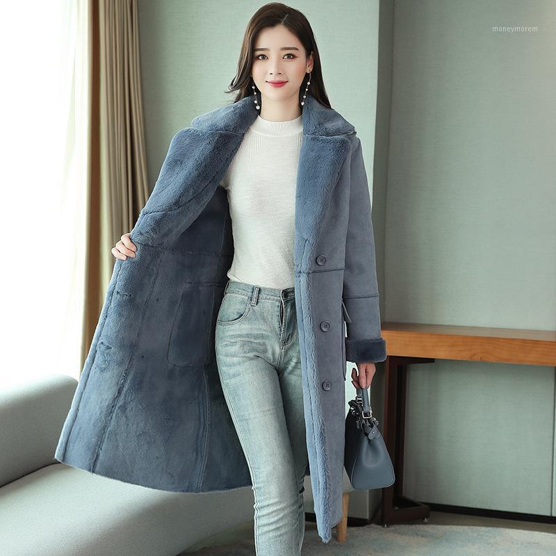 Женский меховой из искусственных женщин зимние овчины пальто очень теплый ягненок дамы корейский обрезанный верхняя одежда свободная женская длинная замшевая одежда 20211