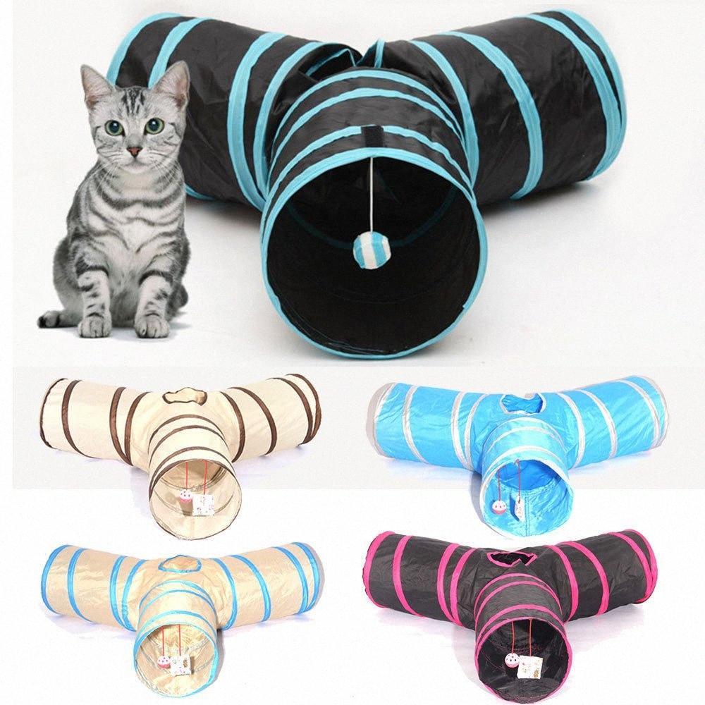 3 Way Tube складной Tunnel Cat Kitten Play Туннели Складной Pet игрушка F6Op #