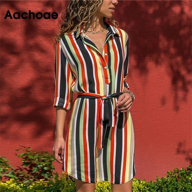 Aachoae Long Sleeve Shirt Dress 2020 Summer Boho Beach Dresses Women Casual Striped Print A-line Mini Party Dress Vestidos Y200805