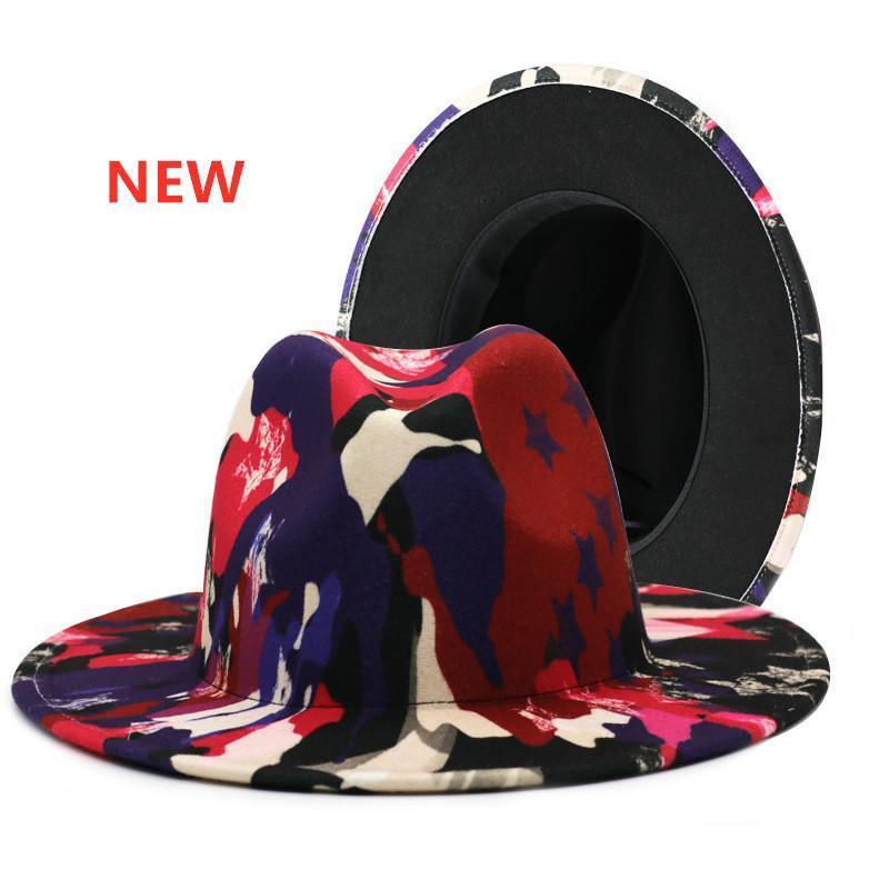 Grande Brim Tie-Dye Fedora Chapéus para Mulheres Homens Outono Inverno Senhoras Vintage Fascinator Multicolor Panamá Sentiu o Chapéus de Jazz Atacado