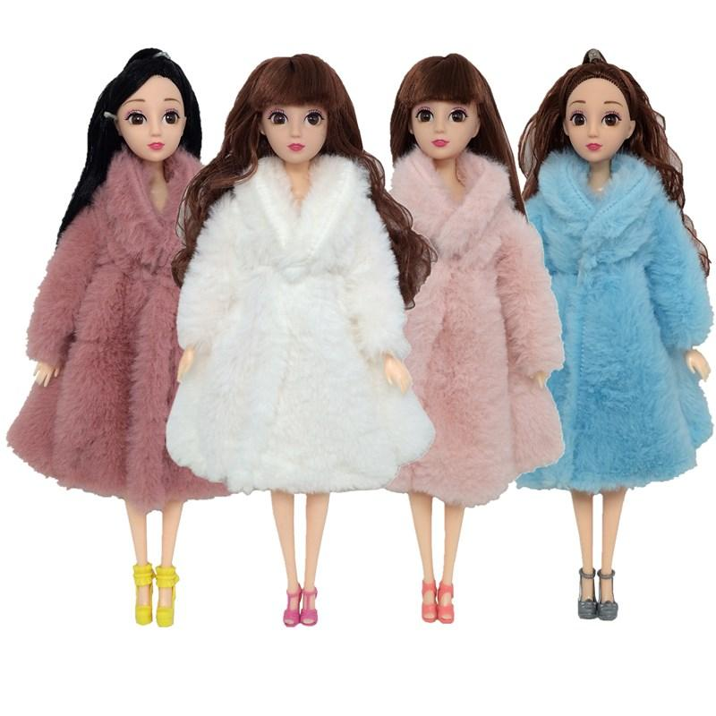 Escudo de manga larga de piel suave Tops vestido caliente del invierno ropa de sport Accesorios Ropa para la muñeca de Barbie niños de juguete multicolor