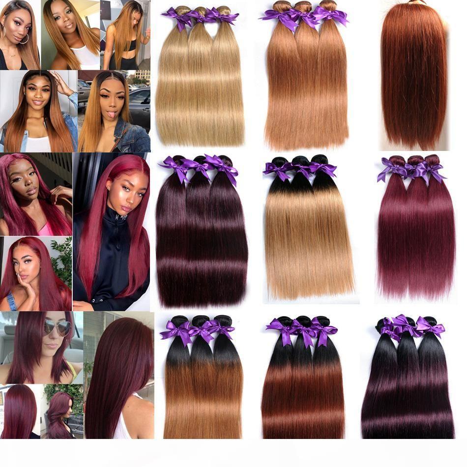 Pelo de Virgen Brasileño Recto 3 paquetes 300G Brown Ombre Bundles de cabello humano T1B27 30 99J Extensiones de cabello humano indio malayo peruano
