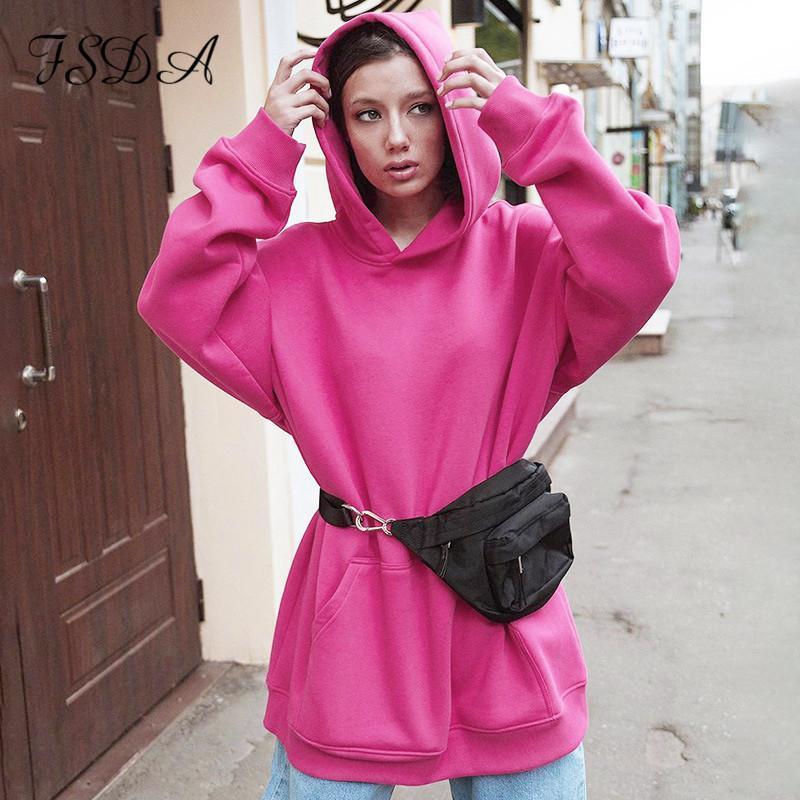 Kadın Hoodies Tişörtü FSDA 2021 Sonbahar Kış Uzun Kollu Boy Kazak Kadınlar Gevşek Siyah Hoodie Rahat Streetwear Kapşonlu Dre