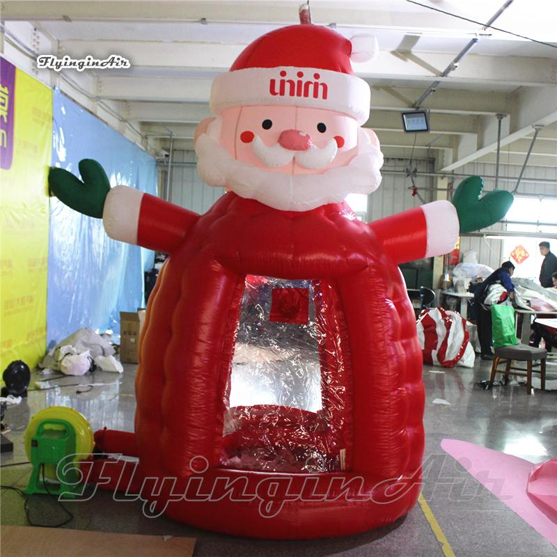 Christmas Inflatable Santa Cash/Money Booth 2.5m Advertising Tent Air Blown Coupon Issuing Machine for Christmas Promotion Events