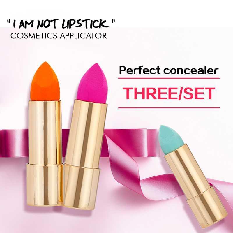 Fräulein Herrliche Make-up Schwamm Lippenstift-Form mit Spiegel Cosmetic Puff Schönheit Belleza Foundation Concealer Make Up Sponge Werkzeuge