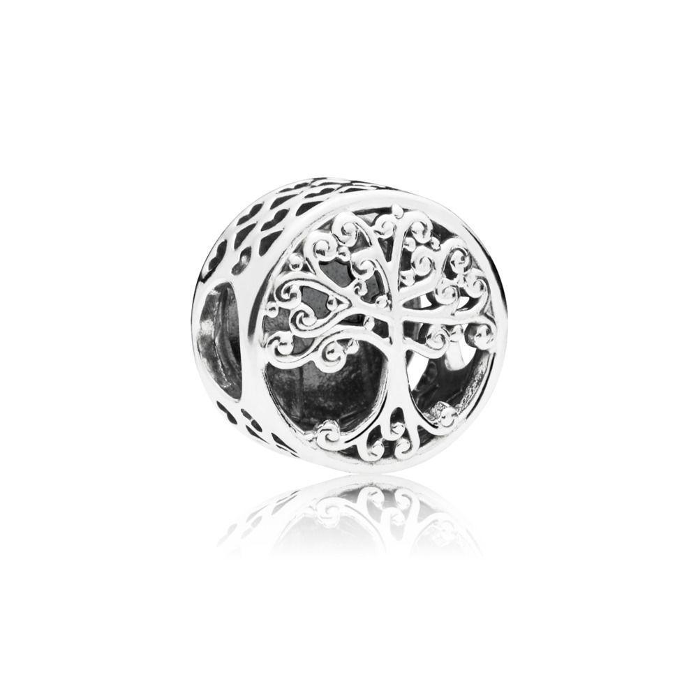 Moda 925 plata esterlina bricolaje fino, como árbol de vida, cuentas de forma redonda, ajuste, original, Pandora Charm, pulsera, joyería.