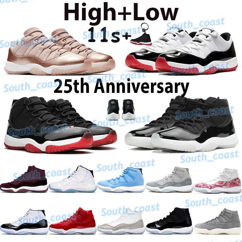 NUEVO 11 hombres zapatos de baloncesto Jumpman 11s Zapatillas de deporte de alto aniversario 25º aniversario Bred Legend Blue Spack Atasco Concord 45 Bajo Concord Concord Bred Mens Sneakers