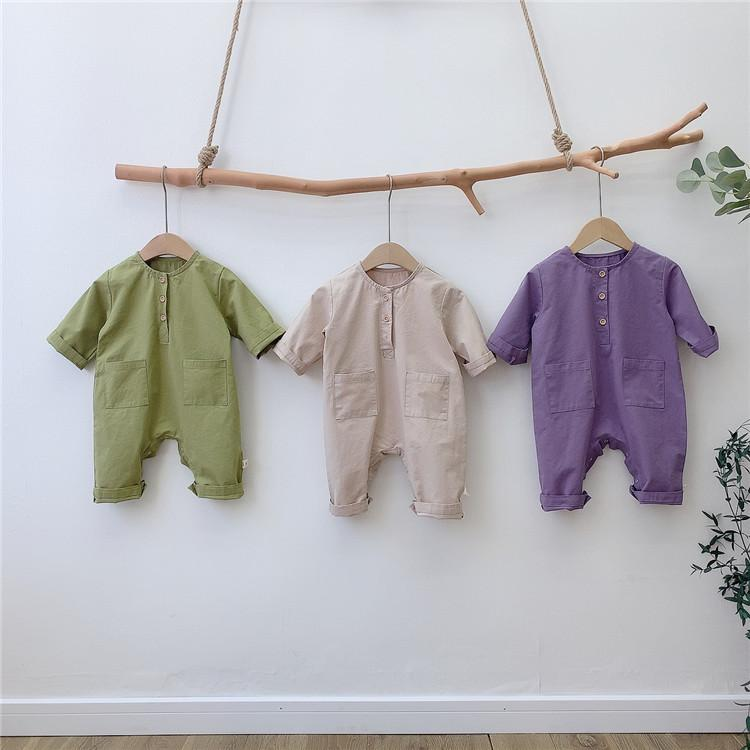 Koreanische Art Baby Jungen Mädchen Süßigkeiten Farbe Langarm Strampler 2020 Herbst Lose Casual Coveralls Y1219