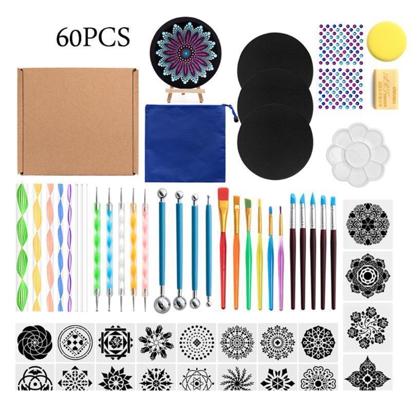 49/58/60 pcs Mandala Dotting Tools para pintura Rock Stencil Stencil Acrílico Stick Gem Adesivo Easel Paleta SP JLLyjc