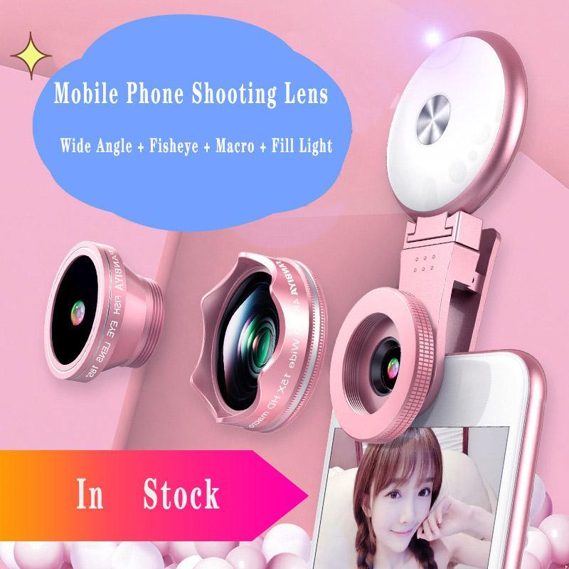 Universal 4 in 1 grandangolare Macro Fisheye Obiettivo per fotocamera per cellulari Lenti per cellulari Pesca Eye lentes con microscopio per smartphone leggero di riempimento