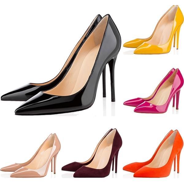 Top Quality Donne Shoes Bottoms Red Bottoms Tacchi alti Sexy Pointed Toe Sole 8cm 10cm 12 cm Pompe Vieni sacchetti di polvere Scarpe da sposa € 36-42