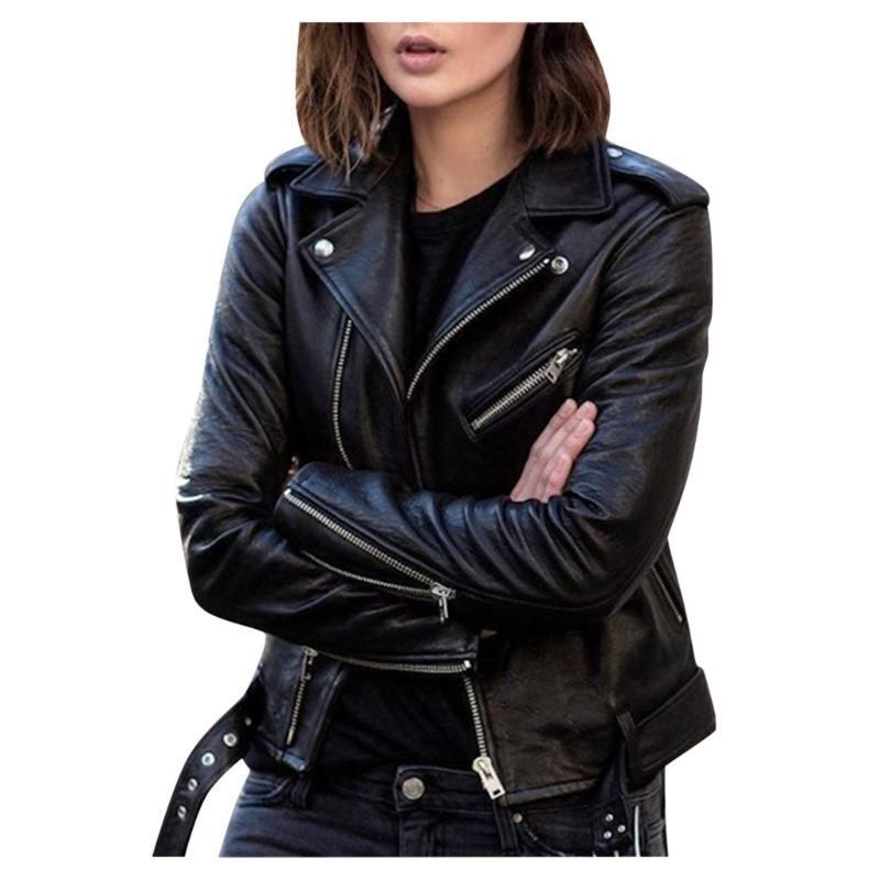 Giacca da donna in cappotto autunno outwear Slim PU Giacca in pelle Giacca corta per le donne Autunno 2021 Abbigliamento da donna