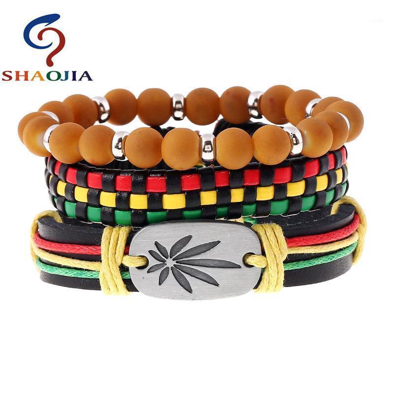 Pulseiras de couro jóias homens elegante jamaica pulseira ajustar tamanho elástico grânulos pulseira maple folhas weave wrap1