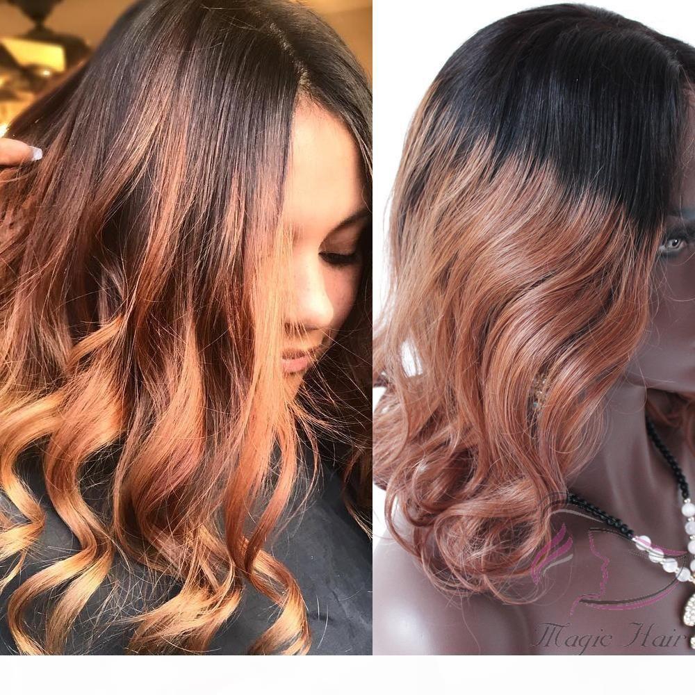 T1b 33# Ombre Dark Auburn Brown Color Wavy 4x4 Lace Closure Brazilian Human Hair Wig 8inch to 26inch Human Hair Wigs