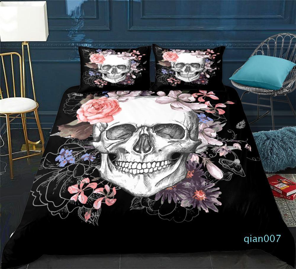 Skull Print Bedding Set 3D Duvet cover set lifelike floral bedclothes with pillowcase black bed king home Textiles