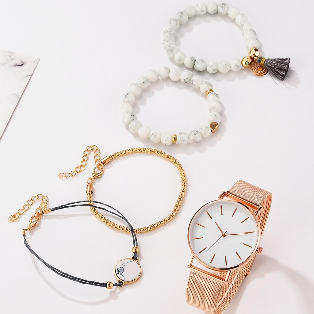 Luxury Women Watch 5 Set Bracelet Japan Quartz Movement Simple Waterproof Rose Gold Stainless Steel Mesh Ladies Watch Relogio Feminino Fashi