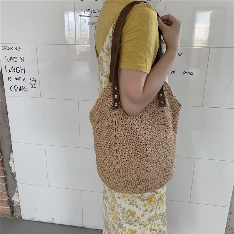 Paille décontractée à la main épaule à la main épaule Messenger tissé femme sacs à main grande plage Summer Sumier sac sac sac sac osier femme femme ECUPQ