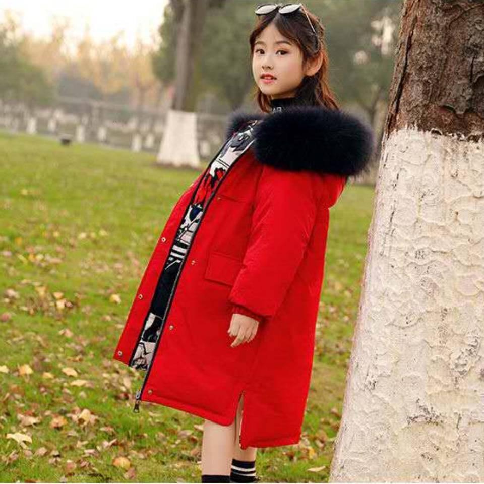 Kürk Yaka Kalın 6-14 Çocuklar Erkekler ve Kızlar Beyaz ceket Aşağı Parkas Kış Çocuk Kapşonlu Uzun WINDBREAKER Coat Ördek